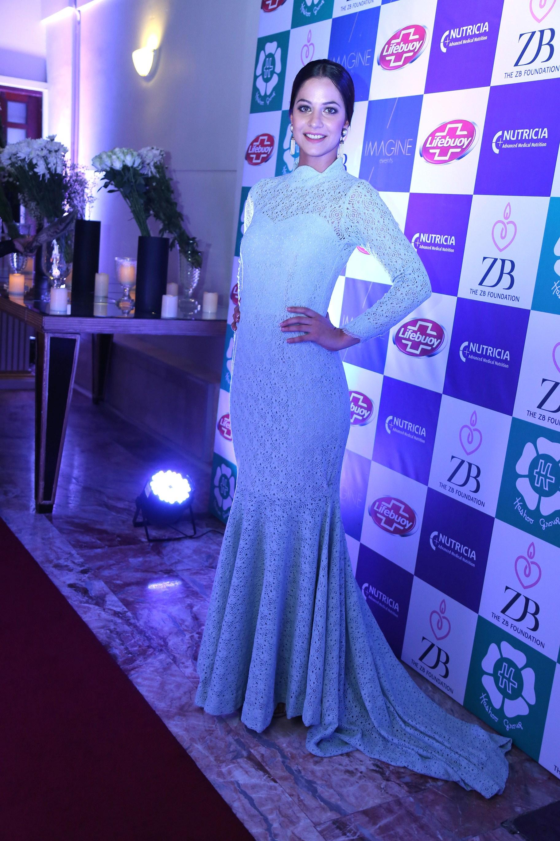 cybil Chowdrhy, Dress by Saira Shakira and Earings by Saira Omer